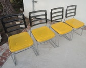 MID CENTURY MODERN Set of 4 Chromcraft Yellow Kitchen Chairs (Los Angeles)