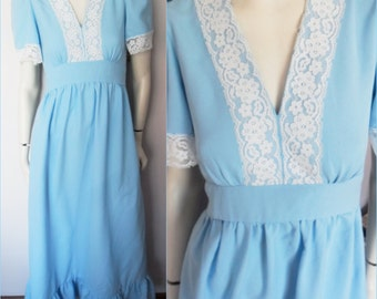 Vtg.1970s Polyester Blue Lace Maxi Dress.S/M.Bust 36.Waist up to 34.