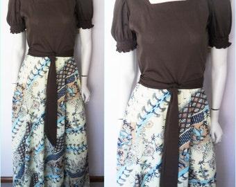 Vtg.70s Brown Lemon Blue Crane Hindu Dancers Print Maxi Dress.S/M.Bust 36-38.Waist 30-32.