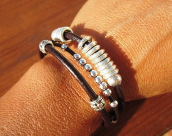 Women leather bracelet, genuine Brown leather bracelet, beaded bracelet, leather jewelry trend