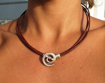 Leather Choker necklace, choker necklace, silver necklace, spiral necklace, silver jewelry, charm necklace