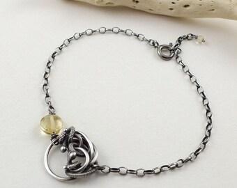Wire wrapped bracelet, citrine bracelet, gemstone bracelet, sterling silver bracelet