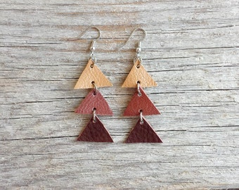 Arrow leather earrings, Triangle Dangle Earrings, Brown and beige,  boho tribal earrings, Unique Gift for Her