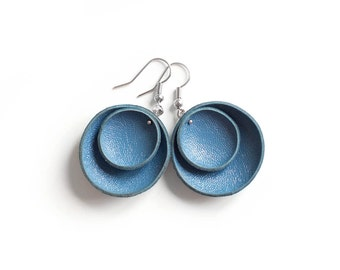 Navy blue circle leather Earrings