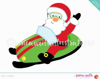 Instant Download Cute Santa Snowmobile Digital Clipart, Cute Christmas Clip art, Santa Clipart, Santa Snowmobile Illustration, #1429