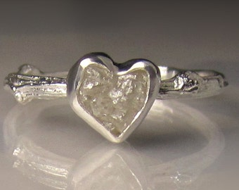 Heart Shaped Raw Diamond Twig Ring, Raw Engagement Ring, Rough Diamond Engagement Ring