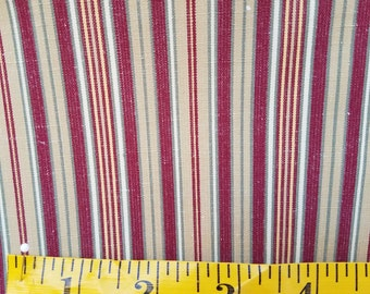 Burgundy and Tan striped home dec fabric