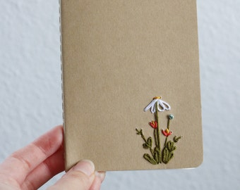 Daisy- hand embroidered moleskine pocket notebook