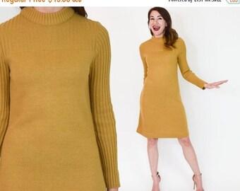 SummerS SALE 60s Tan Knit Dress | Neutral Sweater Dress | Long Sleeve Shift Dress, Medium