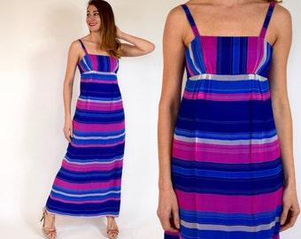 60s Striped Silk Dress | Blue Pink Silk Summer Dress, Small