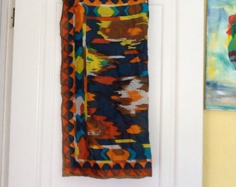 Silk Scarf Hand Rolled Southwestern Abstract