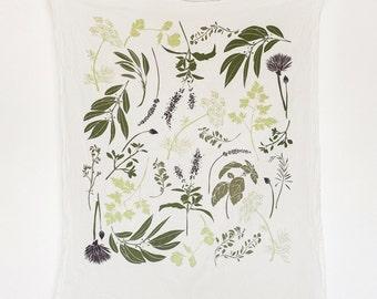 Herb Garden Tea Towel : Flour Sack Cotton Kitchen Towel