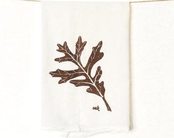 Oak Leaf Kitchen Towel : Autumn Flour Sack Kitchen Towel for Fall Decorations