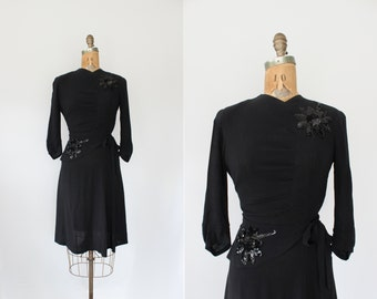 vintage 1930s 1940s dress - 30s 40s black dress - sequins - rayon - size small