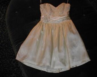 BRIDAL SALE Strapless Ivory Cocktail Length Short Wedding Dress size 8