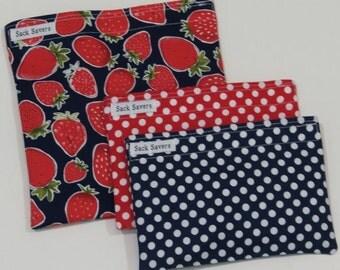 Reusable Sandwich and Snack Bag Set Eco Friendly Strawberry Polka Dot Eco Friendly Reusable Bags