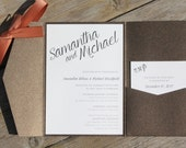 SAMANTHA - CUSTOMIZED SAMPLE Bold Modern Script Bronze Brown and Copper Pocket Fold Wedding Invitation includes reply card and envelopes