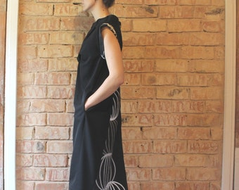 Black midi dress, short sleeves, with prolonged back, upmade, upcycled from pants and vintage textile leftover, cotton, size M/L