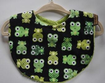 Baby Boy Bright Black Lime Green Aqua Frogs Terry Cloth Bib
