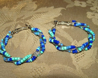 Turquoise, Light Blue, Dark Blue, Medium Blue and Clear Beaded Hoops