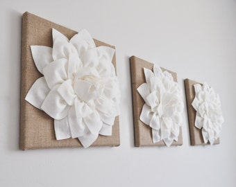 Shabby Chic Wall Art, Wall Burlap Decor, Urban or Country Cottage Decor, Hanging Flower Set, Rustic Wedding Gift, Primitive wall hangings