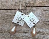vintage repurposed watch dials earrings   vintage pearls   repurposed rhinestones   steampunk   duffin earrings