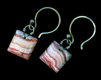 FREE SHIPPING---Banded Rhodochrosite Cushion Briolette Wired Dangle Earrings---Sterling Silver---Creations by Sandy