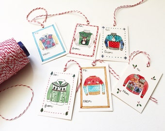 Ugly Sweater Gift Tags, set of 12