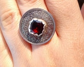 Swiss Switzerland Helvetica Coin Ring with Gorgeous Reclaimed Garnet and Patterned Sterling Silver Band Size 6.75 READY TO SHIP.