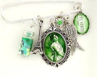 Absinthe Kilt Pin Absinthe Brooch La Fee Verte Green Fairy Jewellery Wearable Art Brooch Green Fairy Brooch Altered Art Jewellery UK