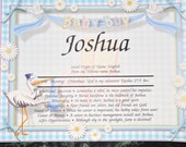 """Personalized Your Child's NAME MEANING  Gift """" It's A Boy """"  8.5 X 10  ships in 24hrs"""