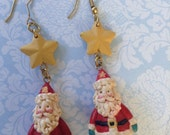 Santa Claus Dangle Earrings Resin Holiday Christmas Earrings