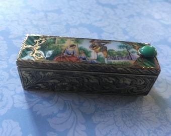 Vintage Gold/Tone Enamel Lip Stick Case