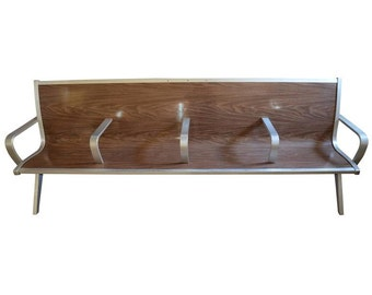 Mid-Century Vintage Industrial Bench from Waiting Room of Train/Bus Depot