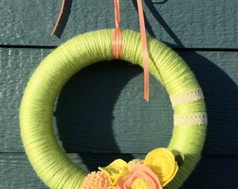 Mini Pale Green Yarn Wreath