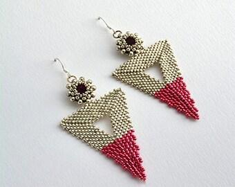 Bermuda Triangle Earrings Silver/Pink