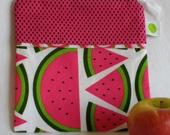 "Reusable Sandwich Bag - 7.5"" x 7.5""- Food safe PUL lined, Zippered, Machine Washable"