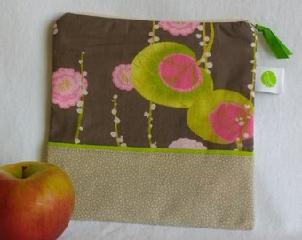 """Reusable, Zippered Sandwich Bag - 7.5"""" x 7.5""""- Food safe PUL lined, Zippered, Machine Washable"""