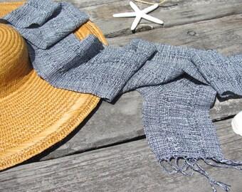 Nautical Blue White Summer Fall Scarf, Hand Woven Blue Ocean Lace Stripe Cotton Scarf, Mens Womens Fashion Scarf, Coastal Beach Chic Scarf