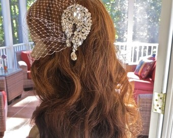 Birdcage Bridal Veil,  Rhinestone Blusher Veil, Bandeau Birdcage Veil, Wedding Rhinestone Veil