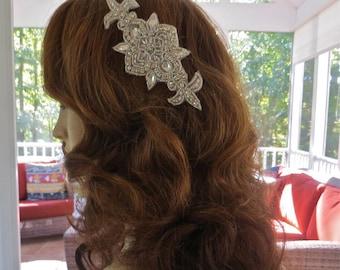 Crystal Applique Headpiece, Crystal Hair Comb, Rhinestone Hair Comb, Wedding Hair Comb, Bridal Hair  Comb, Rhinestone Bridal Comb