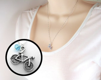 Bicycle Necklace - Minimalist Necklace - Silver Birthstone Necklace Dainty Necklace Sterling Silver Bicycle Jewelry Tiny Necklace Bike Gift