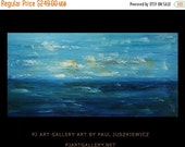 "17% OFF /ONE WEEK Only/ Sunset abstract by Paul Juszkiewicz seascape modern original painting blue huge 48""x24"""