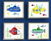 submarine art, submarine art prints, children wall art decor, baby boy nursery wall art, submarine kids wall art
