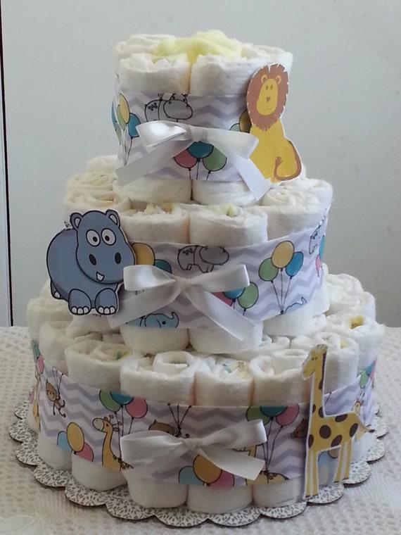 Tier circus zoo chevron diaper cake baby shower centerpiece boy girl
