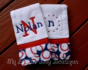 Personalized prefold diaper burp cloths- red and blue with baseballs- set of two