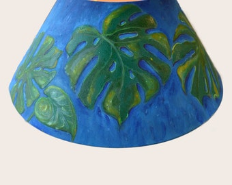 SALE Lacoona Tropical Leaf - a hand painted lamp shade with a philodendron motif