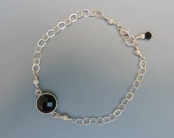 Stackable Bracelet, Gemstone Stacking Bracelet, Black Onyx Bracelet, Gemstone Layering Bracelet, Delicate Bracelet, Silver Stacking Bracelet