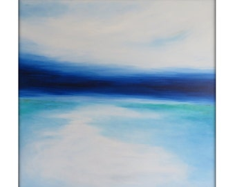 Large Abstract Painting on Canvas Modern Acrylic Skyline- 36x36- Blues, White, Greens, and more
