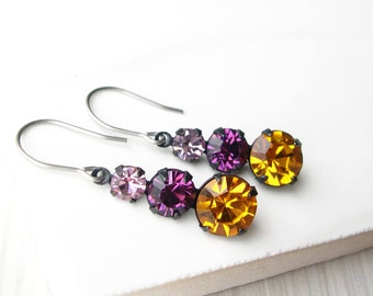 Fall Rhinestone Dangle Earrings - Nickel Free Titanium Earwires, Amber Yellow, Purple, Pink, Autumn, Vintage Components, Special Occasion